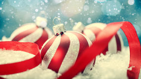 Beauty Xmas banner. With striped decoration ball and snow royalty free stock photo