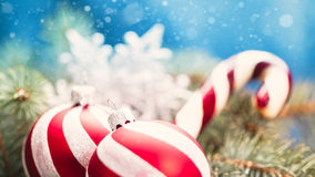 Beauty Xmas banner. With striped decoration ball and snow stock images