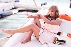 Beauty on yacht Royalty Free Stock Photography