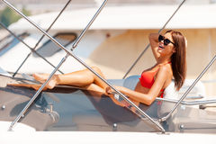 Beauty on yacht. Royalty Free Stock Image