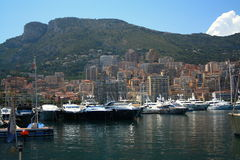 Beauty yacht pier in Monaco stock image