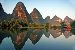 Beauty of Yangshuo Karst in Guilin, China. Beautiful mountains and their reflection in the water - was taken in Yangshuo, Guilin, Guangxi, China Stock Photos