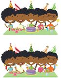 Beauty young African-American boys and girls hugging, holding co. Cktails and fireworks and celebrate birthday. Happy Birthday celebration. Flat style vector Royalty Free Stock Photo