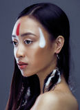 Beauty young asian girl with make up like Pocahontas, red indians woman fashion, close up beauty Royalty Free Stock Images