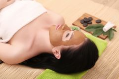 Young, beautiful and healthy woman in spa salon Royalty Free Stock Image
