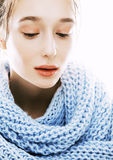 Beauty young blond woman in scarf with weathered lips close up isolated Royalty Free Stock Photos