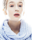 Beauty young blond woman in scarf with weathered lips close up isolated Royalty Free Stock Image
