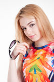 Beauty young blond woman with sunglasses Stock Image