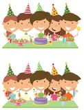 Beauty young boys and girls hugging, holding cocktails and firew. Orks and celebrate birthday. Happy Birthday celebration. Flat style vector illustration for Royalty Free Stock Photography