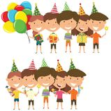 Beauty young boys and girls hugging and holding colorful wrapped. Gift boxes, bright balloons, cocktails and fireworks. Happy Birthday celebration. Flat style Stock Photo