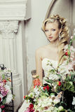 Beauty young bride alone in luxury vintage Stock Photos