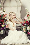 Beauty young bride alone in luxury vintage Stock Photo