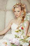 Beauty young bride alone in luxury vintage Royalty Free Stock Image