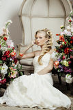 Beauty young bride alone in luxury vintage Stock Image
