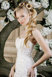 Beauty young bride alone in luxury vintage Royalty Free Stock Photography