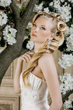 Beauty young bride alone in luxury vintage Royalty Free Stock Photo