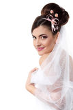 Beauty young bride with beautiful makeup na hairdress in veil Stock Image