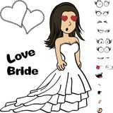 Inlove Beauty young bride cartoon expressions set Royalty Free Stock Photos