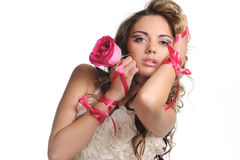 Beauty young bride with rose Royalty Free Stock Photos