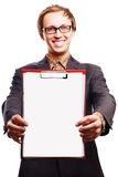 Beauty young business man with Clipboard Royalty Free Stock Photos