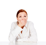Beauty young business woman covering mouth. White background Royalty Free Stock Photo