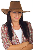 Beauty young cowgirl with hat Stock Image