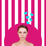 Beauty young fashion model Girl with Valentine. Love. Beautiful young woman. Valentines Day. On pink background Royalty Free Stock Image