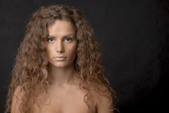 Beauty Young Female Long Curly Hair Stock Photo