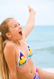 Beauty young girl on the beach Stock Photos