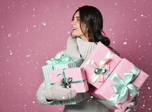 A beauty young girl with christmas gift royalty free stock photo