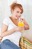 Beauty, Young Girl Drinking A Glass Of Juice Stock Images
