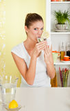 Beauty, young girl drinking water Stock Photos