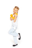 Beauty young girl with fresh oranges. Healthy lifestyle. Happiness. White background Royalty Free Stock Images