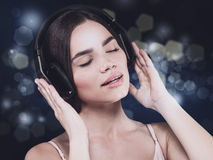 Beauty young girl hearing music with headset Stock Photo
