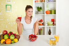 Beauty, Young Girl Holding Fruit Juice And Strawbe Stock Images