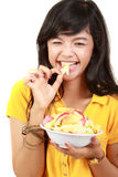 Beauty, young girl holding fruit salad Stock Photo