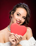 Beauty young girl with Valentine heart Royalty Free Stock Images