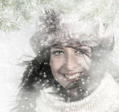 Beauty young girl on the winter background. Portrait photo Stock Image