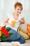 Beauty, Young Girl With A Glass Of Orange Juice