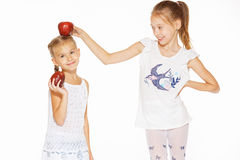 Beauty young girls with fresh apples. Healthy lifestyle. Happiness. White background Royalty Free Stock Photo