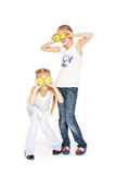 Beauty young girls with fresh apples. Healthy lifestyle. Happiness. White background Royalty Free Stock Image