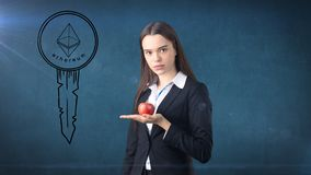 Beauty young business woman standing near sketches of Ethereum crypto currency coin. Business concept of Ethereum icon. Beauty young longhair business woman Royalty Free Stock Photo