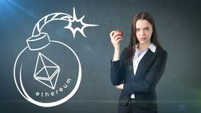 Beauty young business woman standing near sketches of Ethereum crypto currency coin. Business concept of Ethereum icon. Beauty young longhair business woman Stock Photos