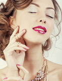 Beauty young luxury woman with jewellery, rings, Royalty Free Stock Photos