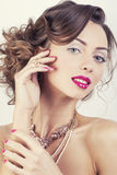 Beauty young luxury woman with jewellery, rings, Stock Image
