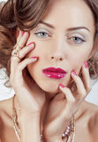 Beauty young luxury woman with jewellery, rings, Royalty Free Stock Photo