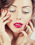 Beauty young luxury woman with jewellery, rings Royalty Free Stock Images