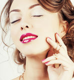 Beauty young luxury woman with jewellery, rings, nails close up Stock Images