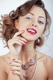 Beauty young luxury woman with jewellery, rings Stock Photos