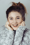 Beauty young real woman in sweater at winter Stock Photography